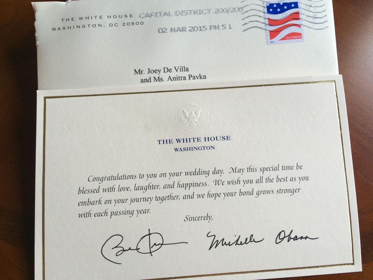 white house wedding card
