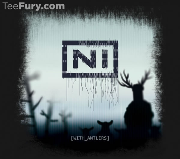 "Graphic: NIN logo turned into 'NI', silhouette of the Knights who say  'ni"", subtitled 'With antlers'"