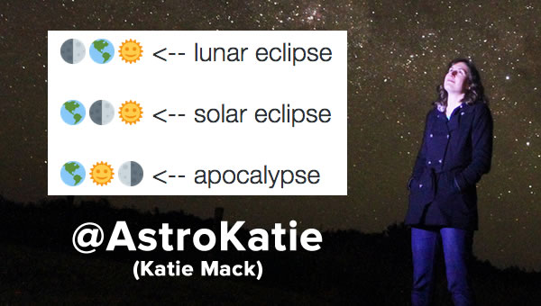 Headline: @AstroKatie (Katie Mack) / Photo: Katie Mack standing against a starry night sky, with her Twitter joke.