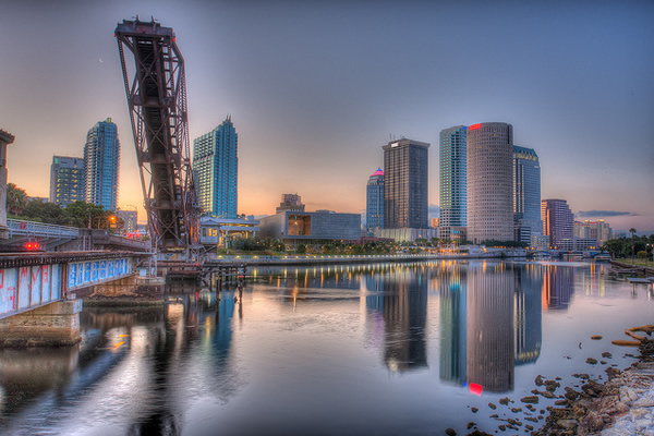 Photo: Cass Street bridge and downtown Tampa reflected in the Hillsborough River.