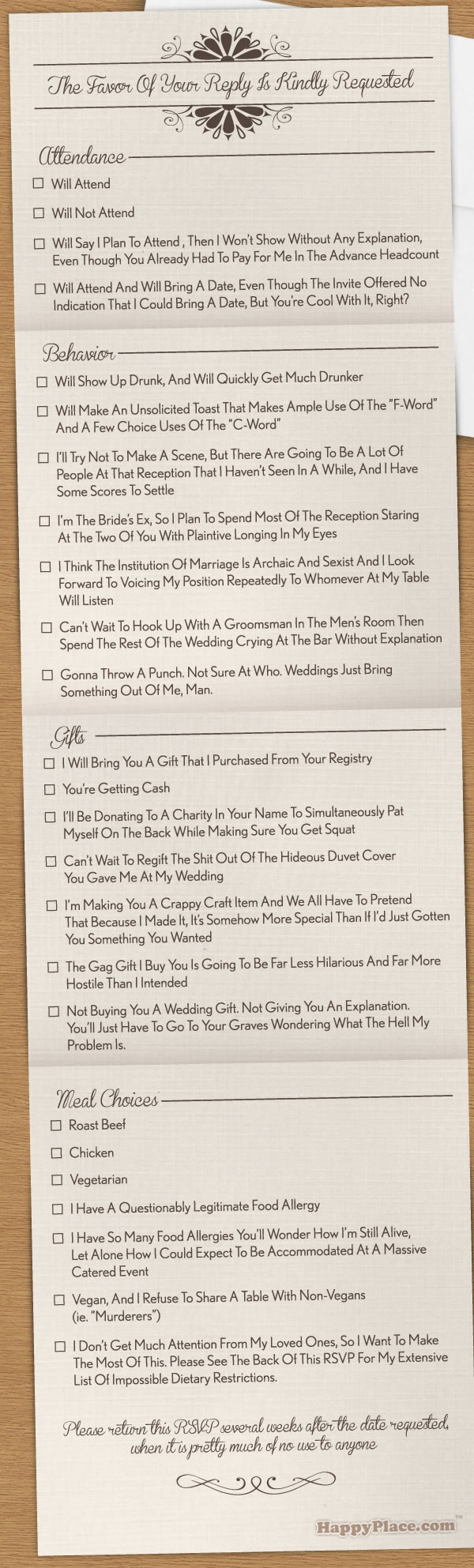 Graphic: RSVP card for wedding with hilarious checkboxes, too many to list here.