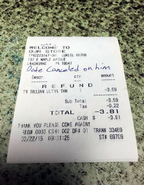 Photo: Receipt for a refunded condom with 'Date canceled on him' written on it as an explanation