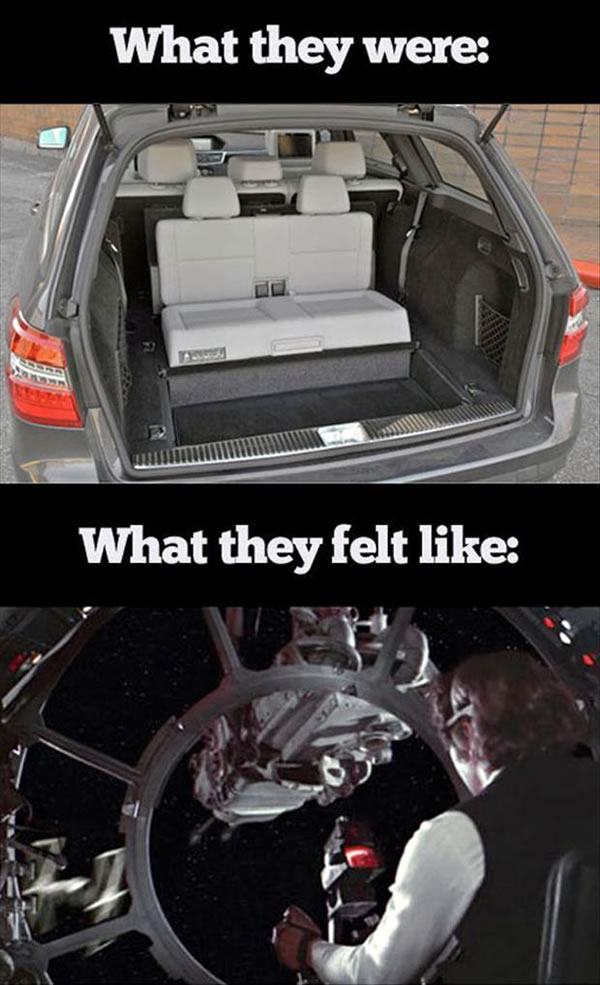 "Photo: ""What they were"": rear-facing seats in the back of a station wagon / ""What they felt like"": Han Solo in the seat of one of the Millennium Falcon's gun turrets"