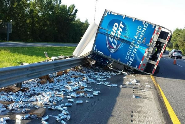 crashed bud light truck