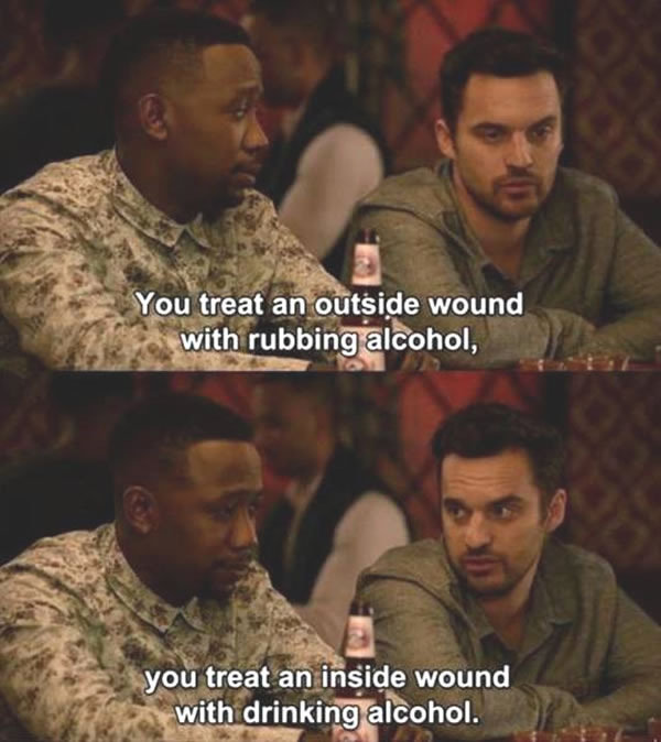 outside wound inside wound alcohol