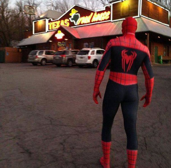 spider-man at the texas roadhouse