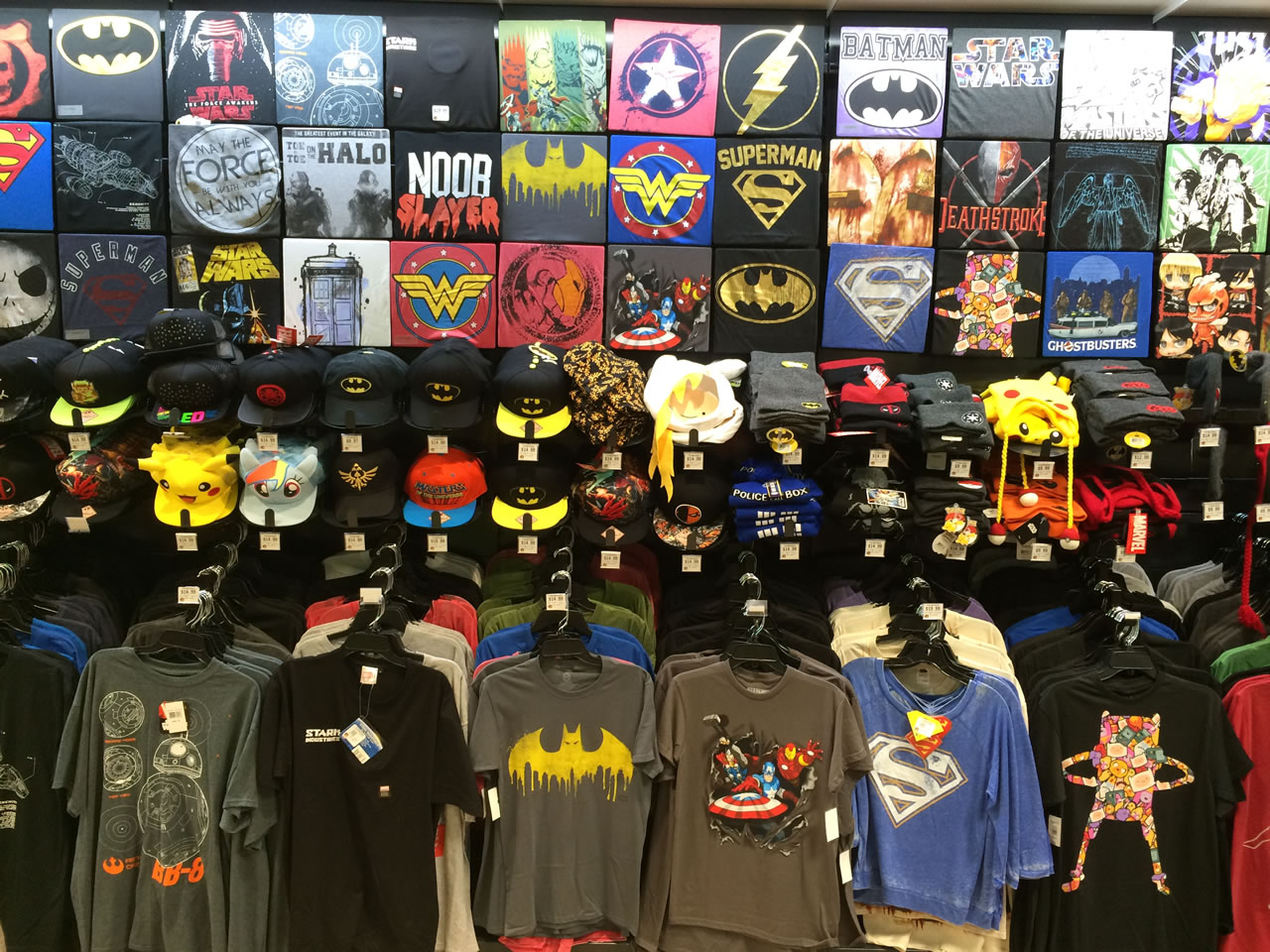 30 thinkgeek store - t-shirts and hats wall
