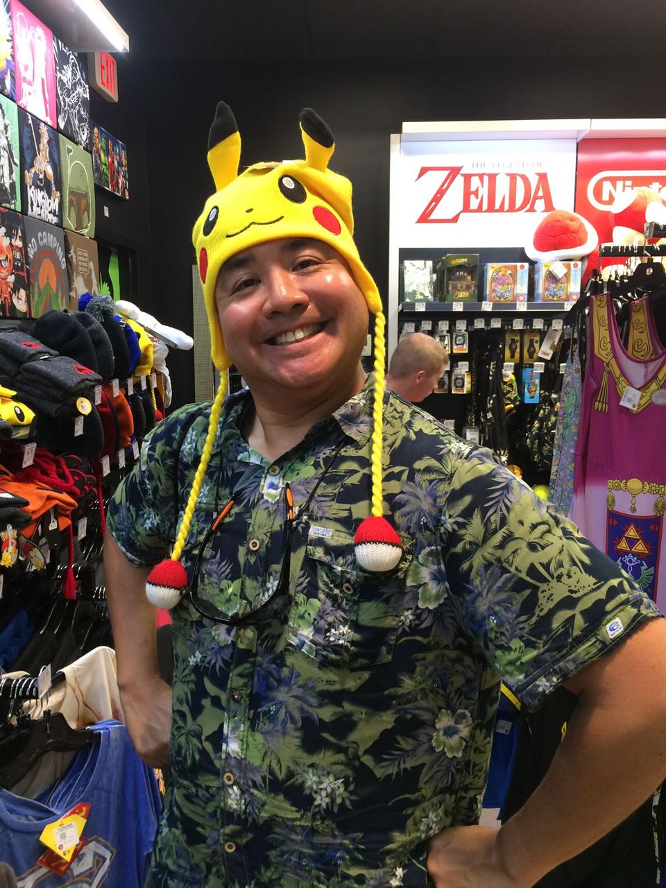 31 thinkgeek store - joey in pikachu hat