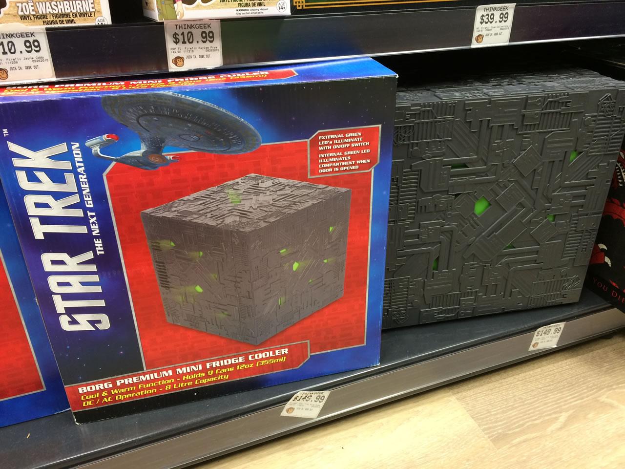 66 thinkgeek store - borg cube fridge