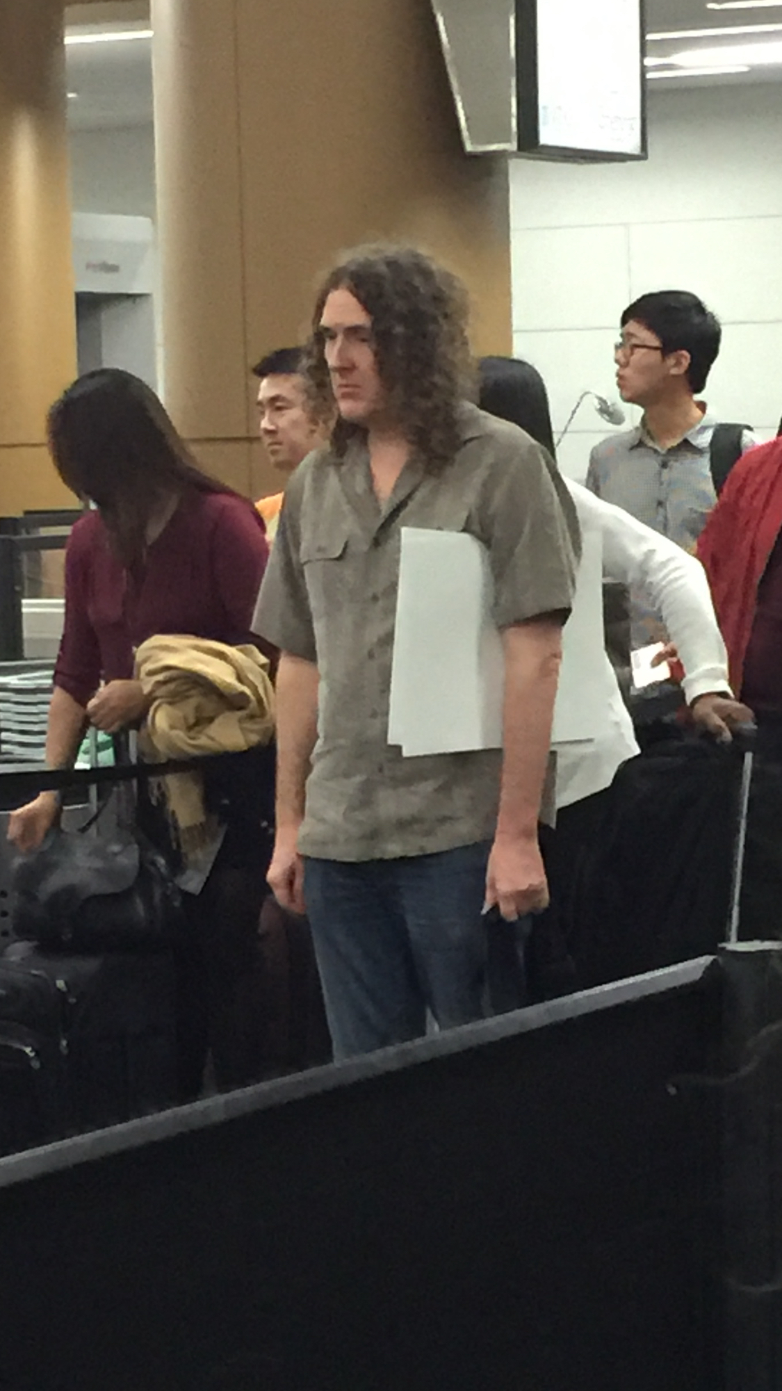sad weird al in airport security