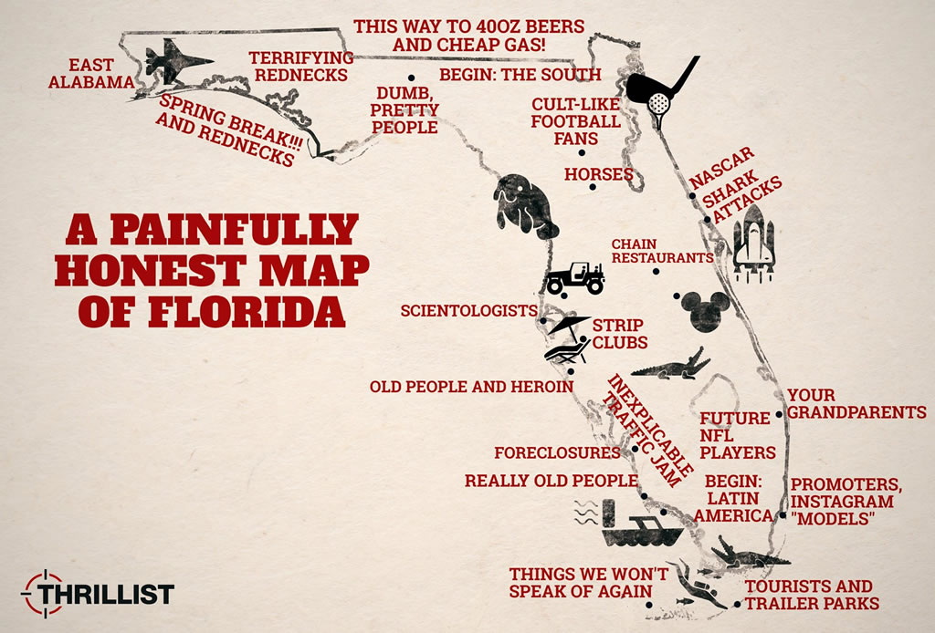 painfull honest map of florida