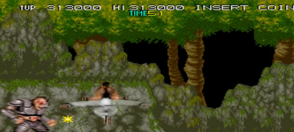 Gameplay scene from 'Bad Dudes vs. Dragon Ninja' videogame. The player fights ninjas in the woods.
