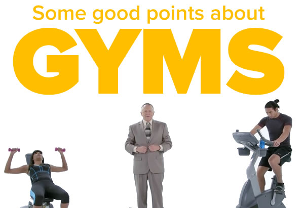 Some good points about gyms: 'Roger' from Cracked.com's 'Honest Ads' flanked by two personal coaches working out.