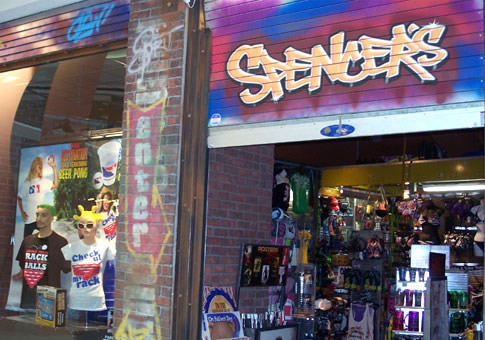 A 'Spencer's' storefront.