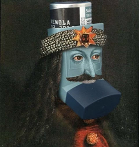 Inhaler done up to look like Vlad the Impaler.
