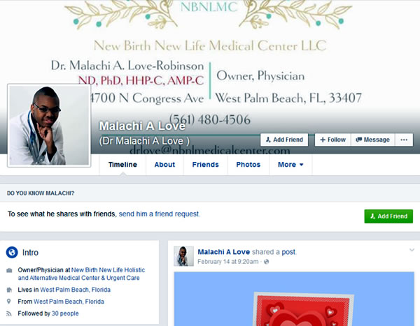 dr malachi a love facebook page