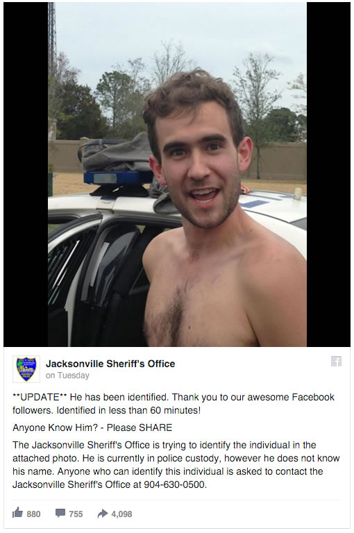 jacksonville police facebook request