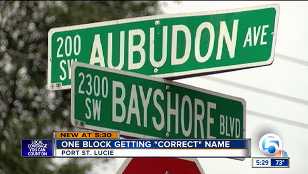 port st. lucie - aubudon ave sign