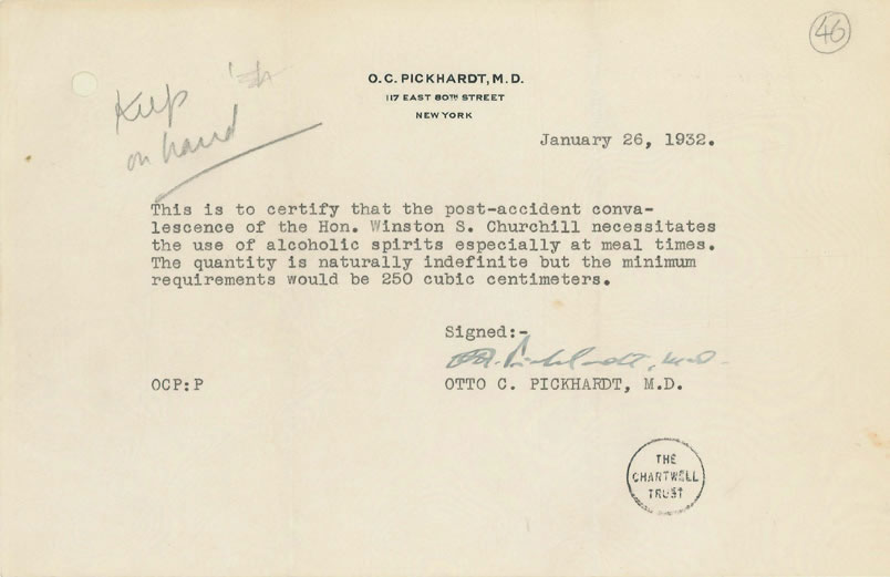 churchill alcohol prescription