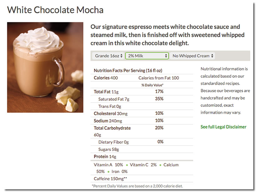 white chocolate mocha nutritional info