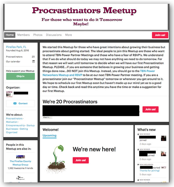 procrastinators meetup