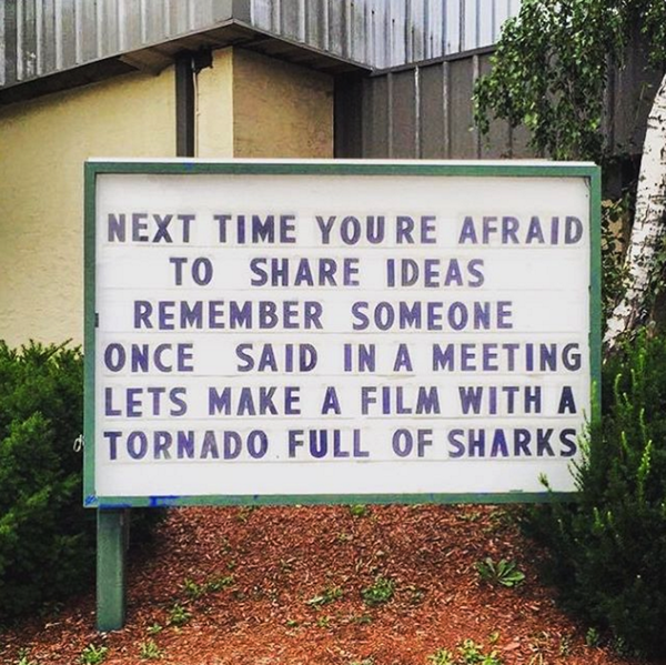 sharknado church sign