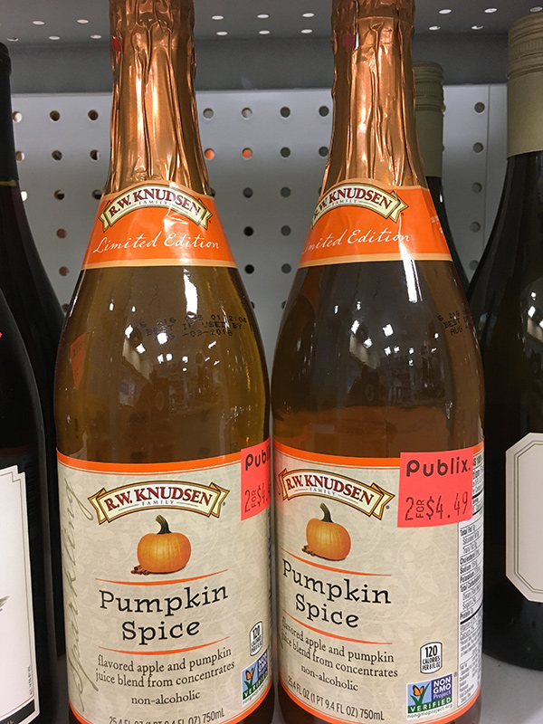 750mL bottles of R.W. Knudsen's pumpkin spice cider, marked down to 2 for $4.49.