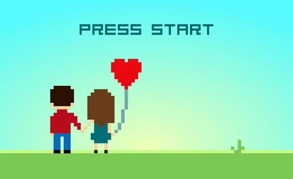 Illustration: Pixelated videogame-style rendition of man and woman holding hands and a heart-shaped balloon, with the title 'PRESS START'.