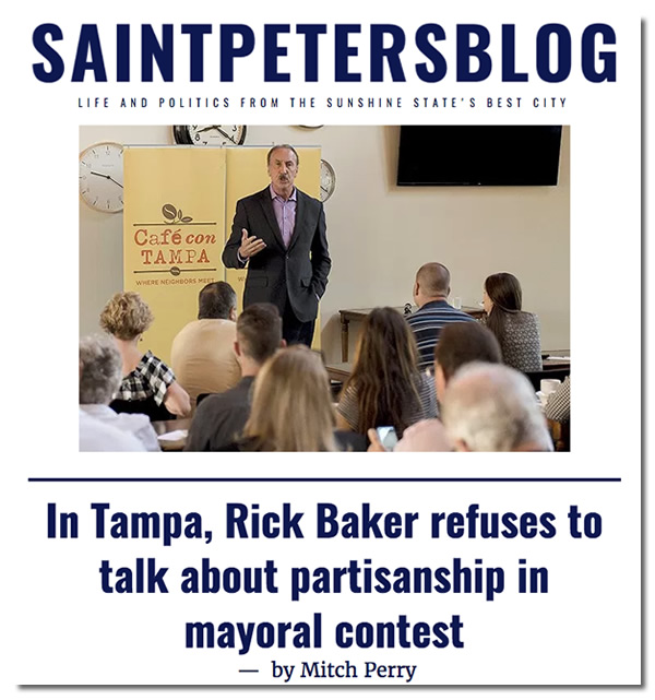 Screenshot of SaintPetersblog article, 'In Tampa, Rick Baker refuses to talk about partisanship in mayoral contest'