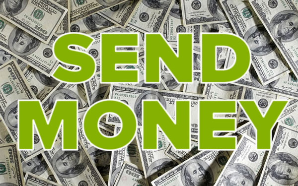 Photo: Pile of U.S> one-dollar bills with 'SEND MONEY' overlaying it in large green block letters.