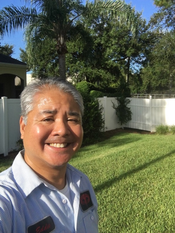 Joey deVilla poses in his yard with a blue sky in the background, on the morning of Saturday, September 9, 2017.