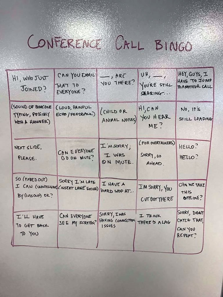 Whiteboard illustrating a 'Conference Call Bingo' card.