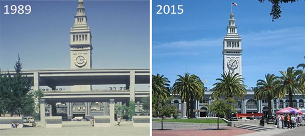 Photo: Embarcadero in 1989 and 2015.