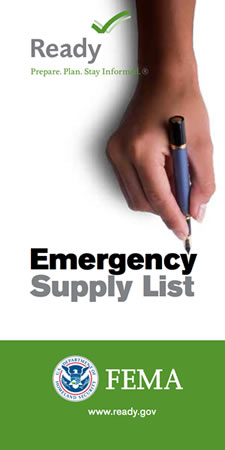 Cover of the 2014 edition of the FEMA Emergency Supply List document