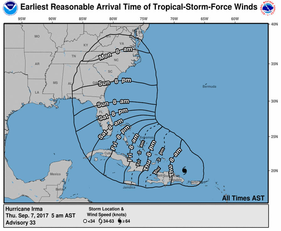 Map showing the 'earliest reasonable arrival time' of tropical-storm-force winds created by Hurricane Irma.