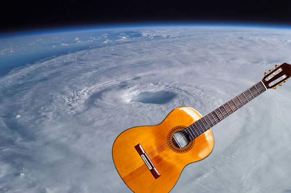 Hurricane Irma, as seen from space, with guitar.