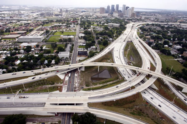 Aerial photo of Tampa's 'Malfunction Junction', the I-275/i-4 interchange.