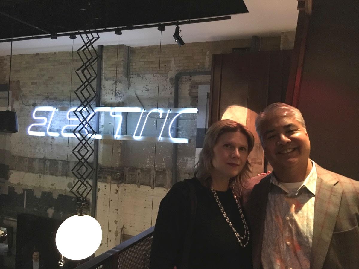 Anitra Pavka and Joey deVilla on the balcony of The Carbon Bar, Toronto.