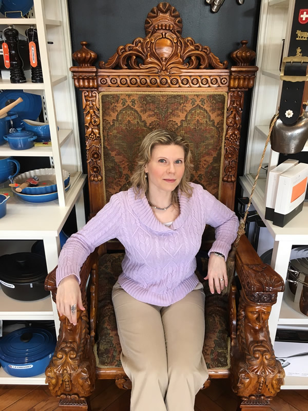 Anitra Pavka in the big chair at Cheese Boutique, Toronto.