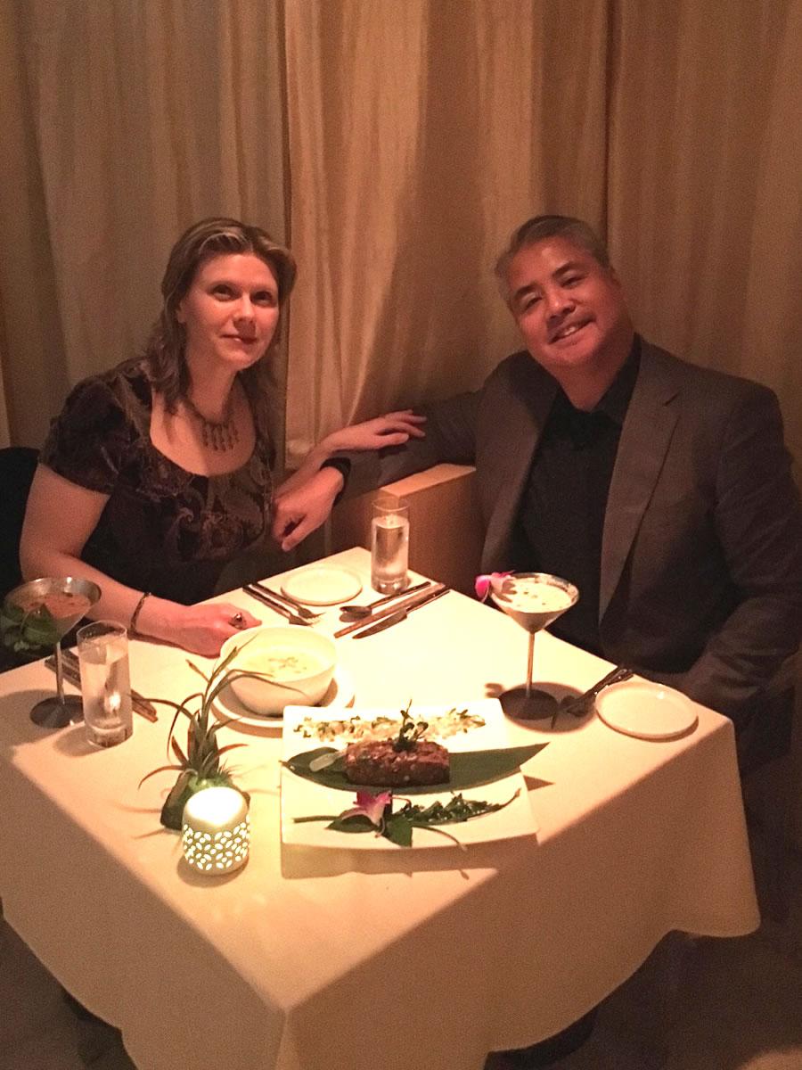 Anitra Pavka and Joey deVilla at Joey's birthday dinner, Restaurant BT, Tampa, November 4, 2017.