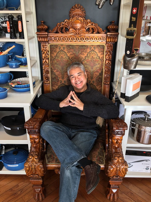 Joey deVilla in the big chair at Cheese Boutique, Toronto.