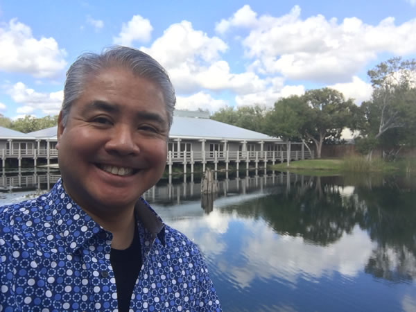 Joey deVilla outside the Sourcetoad office in Tampa, with the pond in the background.