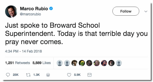 Tweet from Marco Rubio: 'Just spoke to Broward School Superintendent. Today is that terrible day you pray never comes.'