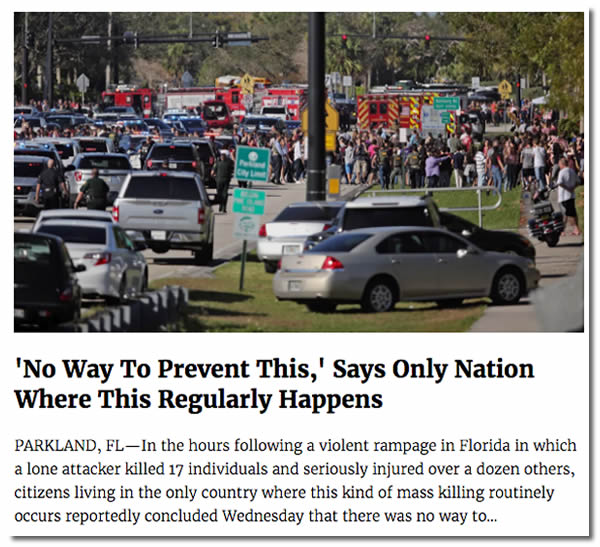 Article from 'The Onion': 'No Way To Prevent This,' Says Only Nation Where This Regularly Happens
