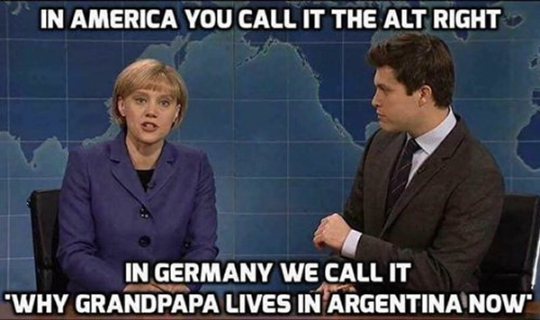 Photo: Scene from 'Weekend Update on Saturday Night Live' with Kate McKinnon playing Angela Merkel: 'In America, you call it the 'alt right'. In Germany, we call it 'Why Grandpapa lives in Argentia now'.'