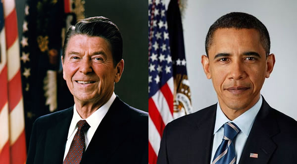 Photos: Photos of Presidents Reagan and Obama, side by side.