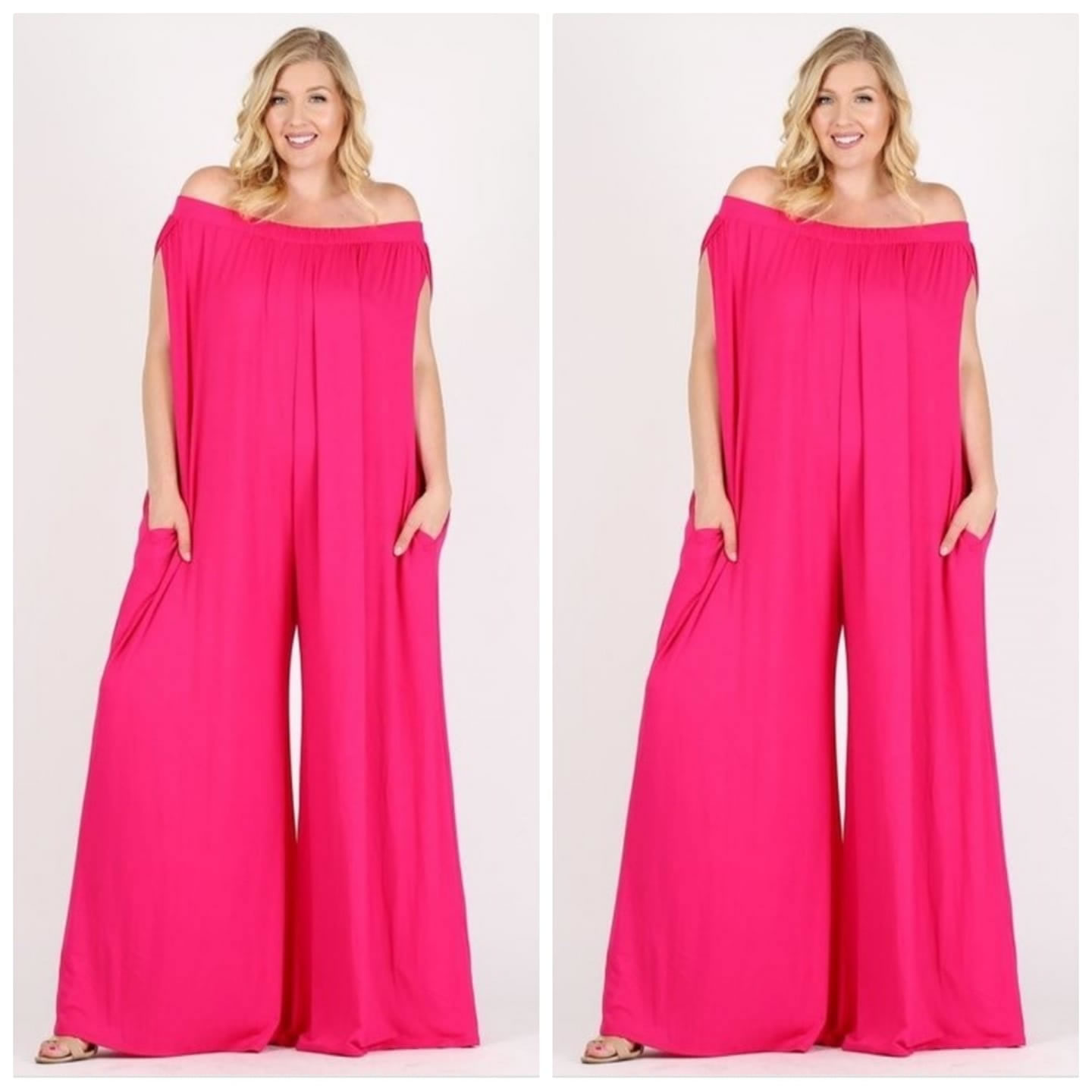 Woman in an outfit that can best be described as a pair of giant pink off-the-shoulder flare pants