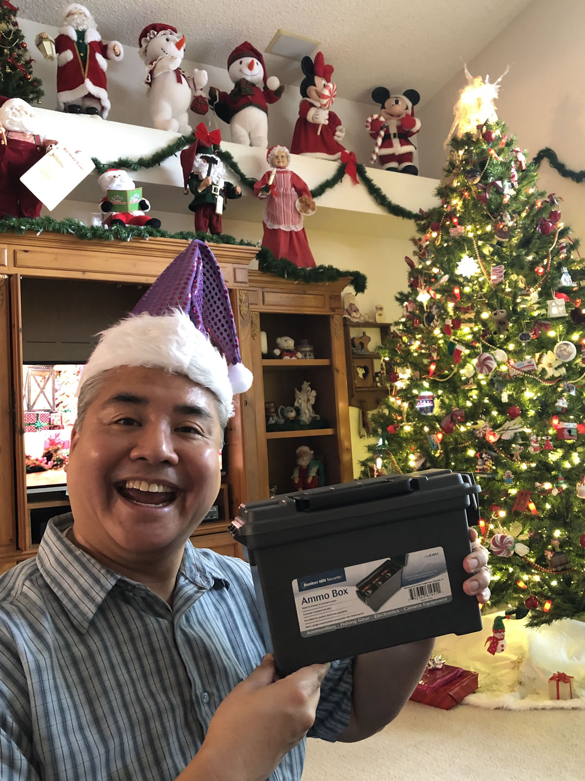 Photo: Joey deVilla and his Christmas 2018 present: an ammo box!