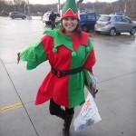 Sara Mercier strikes a jaunty pose in her elf costume