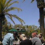 People eating lunch by a pool among palm trees.
